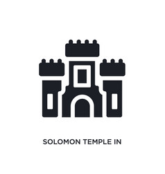 Black solomon temple in jerusalem isolated icon vector