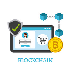Blockchain digital technology shopping online vector