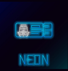 Blue glowing neon line cruise ticket for traveling vector