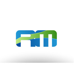 Blue green rm r m alphabet letter logo vector