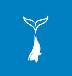 Blue whale silhouette with big tail logotype vector