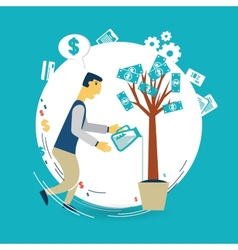 Businessman watering a money tree vector image vector image