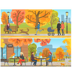 Cafe with tables and clients city park set vector