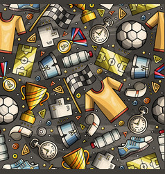 cartoon cute hand drawn sport seamless pattern vector image