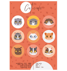 Cat cafe faces or heads poster vector