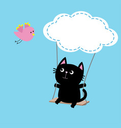 cat ride on the swing cloud shape flying pink vector image