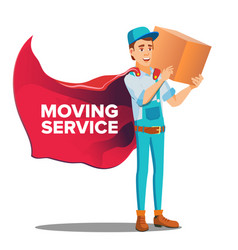 Character workman mover with cardboard box vector