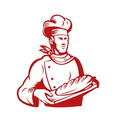 Chef cook baker holding dough bread vector