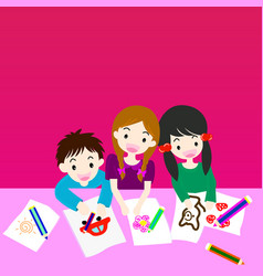 children draw picture vector image