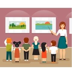 Children in the museum vector image