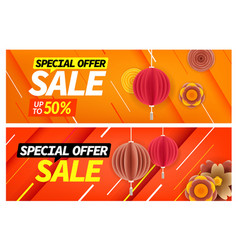 Chinese style banners special offer vouchers vector