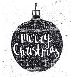 Christmas ball vintage card Hand drawn vector image