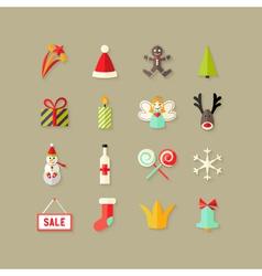 Christmas Flat Icons Set 3 vector image