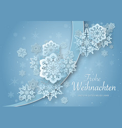 Christmas greeting with abstract paper snowflakes vector