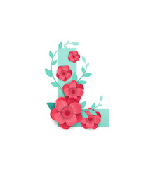 color letter l with beautiful flowers vector image