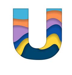 Colorful letter u vector