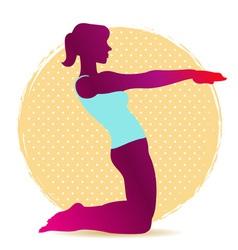 Colorful yoga asana silhouette for stretching vector