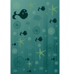 cute background with flower fish vector image