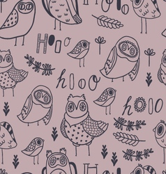 Cute owls florals and hand lettering vector image