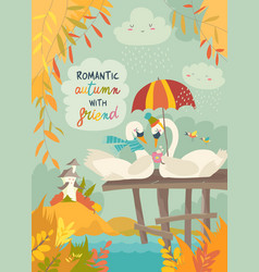 cute romantic swans in autumn park vector image