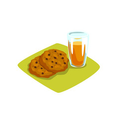 Delicious cookies with chocolate chips and glass vector
