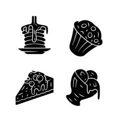 Desserts glyph icons set pancakes muffin vector