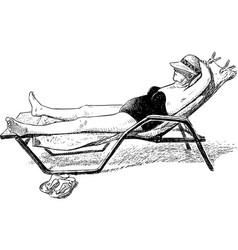Elderly woman is sunbathing on a seashore vector