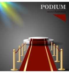 Empty white podium with red carpet vector image