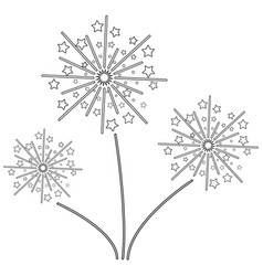 Fireworks with stars line icon exploding vector
