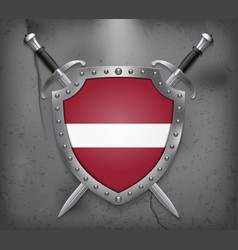 Flag of latvia the shield with national flag two vector