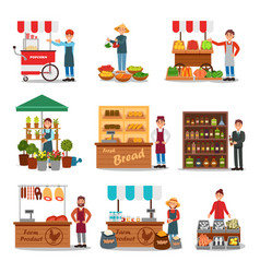 Flat set of street vendor selling various vector