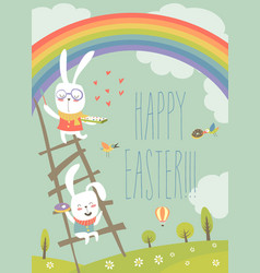 Funny easter bunnies with rainbow vector