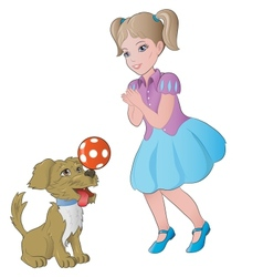 Girl playing with little dog vector
