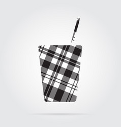 Grayscale tartan icon - fast food drink with straw vector