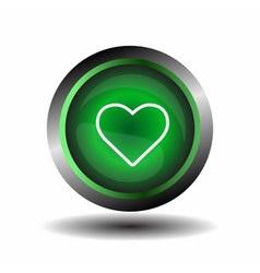 Green Heart Button vector