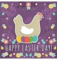 greetings card with easter eggs and one hen vector image
