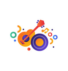 guitar and vinyl disk music entertainment vector image
