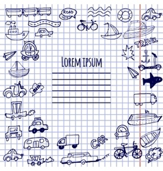 Hand-drawn doodle cars bicycles and ships vector image vector image