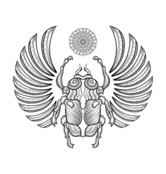 Hand drawn egyptian scarab beetle Zentangle vector