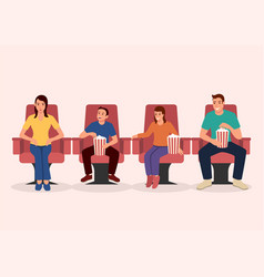 happy family watching movie together vector image