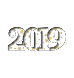 happy new year card 3d number 2019 golden vector image