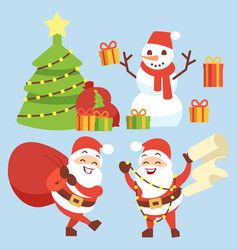happy santa claus flat character with gift bag vector image