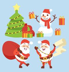 Happy santa claus flat character with gift bag vector
