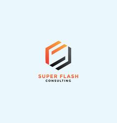 Hexagonal f consulting logo design template vector