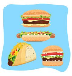 Hot dog hamburgers and tacos vector
