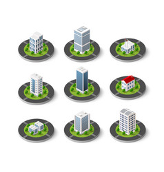 icon set of the city with isometric houses vector image