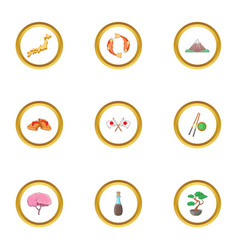 Japan culture icons set cartoon style vector