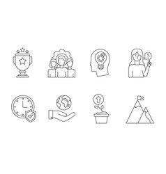 Linear core values black linear icons vector