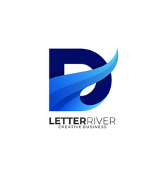 logo letter d river gradient colorful style vector image
