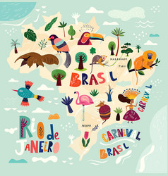 map of brazil brazilian symbols and icons vector image